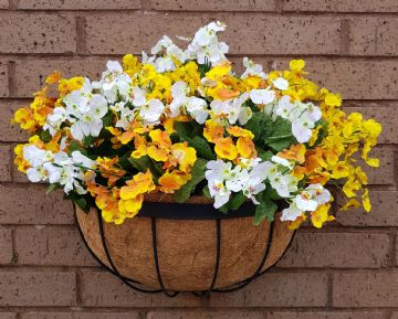 Artificial Flowers Yellow and White Dancing Ladies inch Iron Hay Rack Planter
